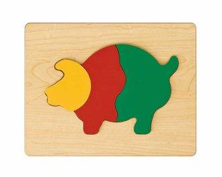 [2歳-]どうぶつパズル ぶた〈木製はめこみパズル 3分割〉TAG