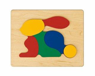 [2歳-]どうぶつパズル うさぎ〈木製はめこみパズル 6分割〉TAG