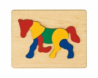 [2歳-]どうぶつパズル うま〈木製はめこみパズル 8分割〉TAG