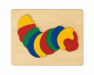 [2歳-]どうぶつパズル いもむし〈木製はめこみパズル 10分割〉TAG