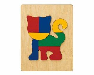 [2歳-]どうぶつパズル ねこ〈木製はめこみパズル 7分割〉TAG