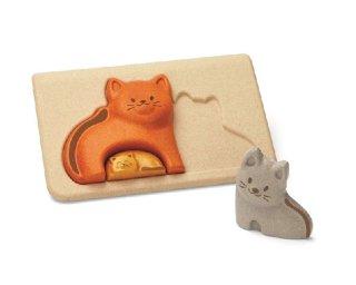[2歳-]ネコのパズル〈木製はめこみパズル 3分割〉PLANTOYS