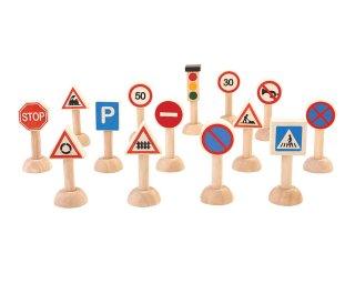 [3歳-]交通標識と信号のセット〈車のおもちゃ〉PLANTOYS