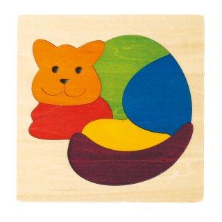 [2歳-]カラフルパズル・ねこ〈木製はめこみパズル〉George Luck