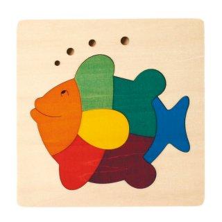 [2歳-]カラフルパズル・さかな〈木製はめこみパズル〉George Luck
