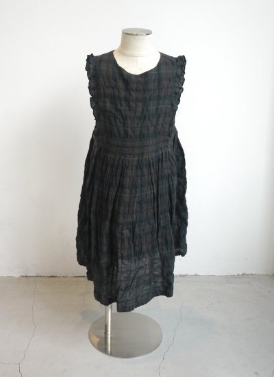 apron dress / brown check