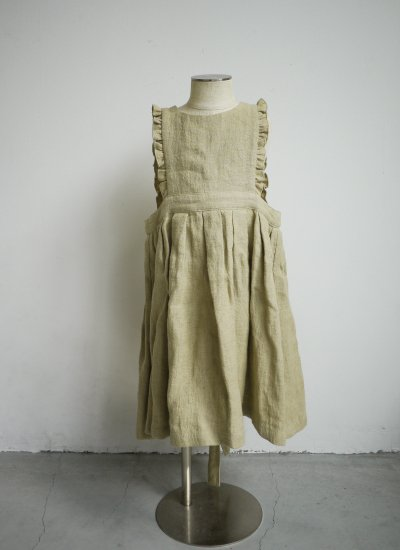 apron dress / vintage beige
