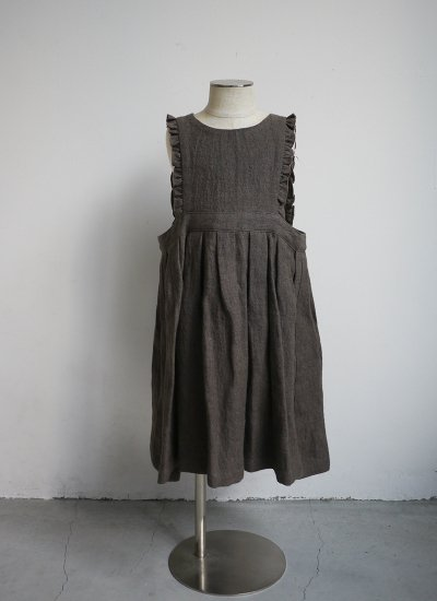 apron dress / dark brown