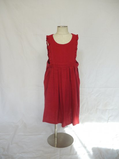 apron dress  rose red