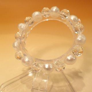 水晶&淡水真珠バロックブレスレット