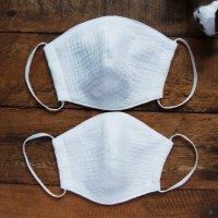 ダブルガーゼ立体布マスク(顔が広い方向けサイズ・白ホワイト)