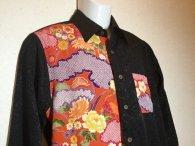 衣櫻 「桜柄地紋×吉祥植物文様」和柄長袖シャツ