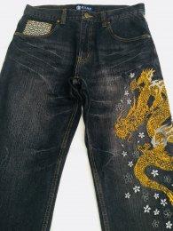豊天商店 昇り龍金刺繍和柄ストレートジーンズ