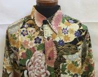 衣櫻 長袖レギュラーシャツ「ゴールドラメシリーズ 百貨絢乱柄」