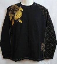 華鳥風月「アシンメトリー 菊 和柄ロングTシャツ」 ブラック