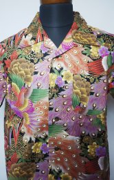 衣櫻 ゴールドラメコットン半袖アロハシャツ「孔雀」