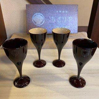 ワイングラス 蒔絵付