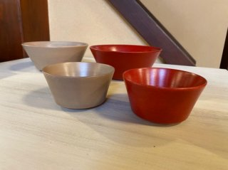 朱・白富貴漆塗 小鉢