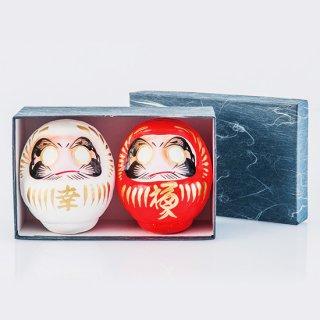 幸福だるま(紅白)和紙化粧箱入り 1号9cm