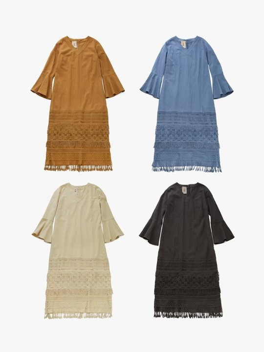 MARTE Cotton Linen Fringe Lace Dress