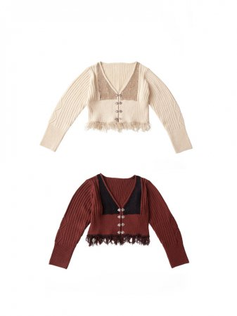 <img class='new_mark_img1' src='https://img.shop-pro.jp/img/new/icons5.gif' style='border:none;display:inline;margin:0px;padding:0px;width:auto;' />MARTE Bi Color Fringe Knit Cardigan