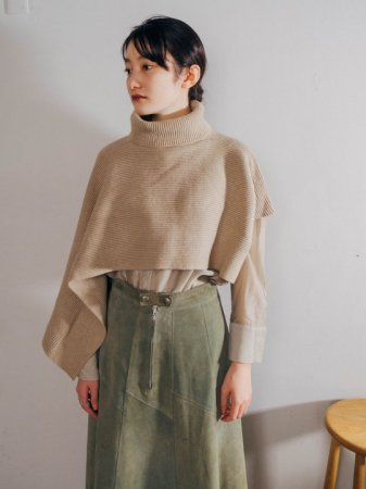 Asymmetry Knit  Cape / Beige , Brown , Ivory