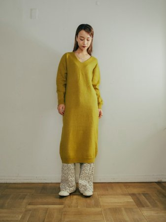 V-neck Knit Dress / Pistacchio