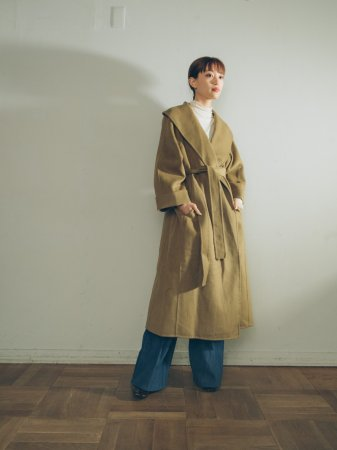 Olive Shawl Collar Coat