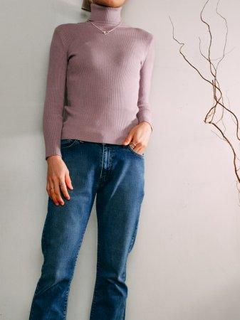 Rib TurtleNeck Knit / Pink gray, Purple, Orangebrown, Burgundy