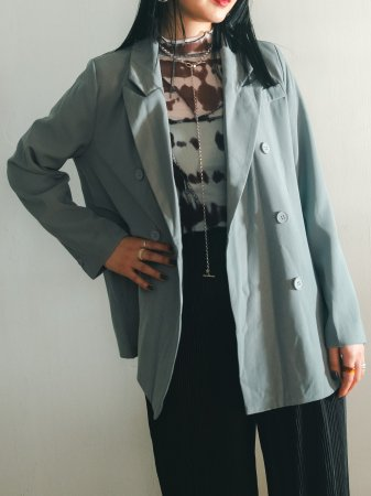 Front Switching Double Jacket / Black, Beige, Gray-blue.