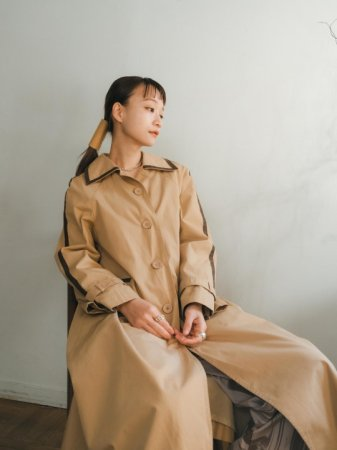 Tape Decorated Trench Coat