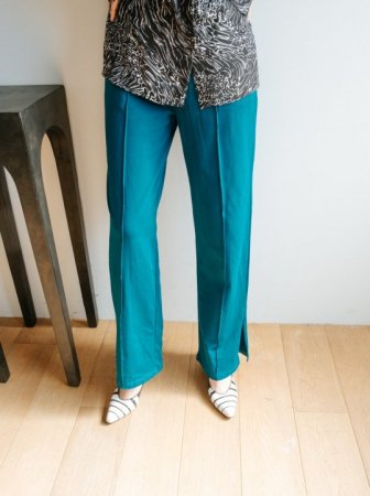Side Slit Jersey Pants / Turquoise