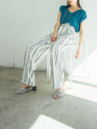 Stripe West Belt Pants