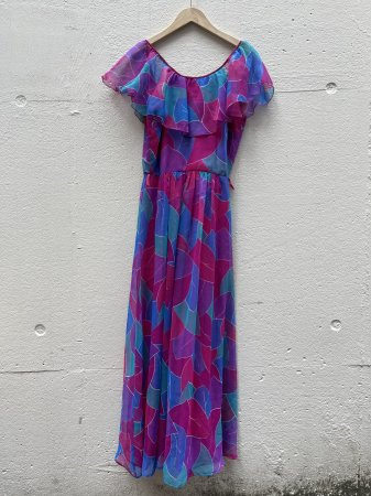 70s Leaf Pattern Dress