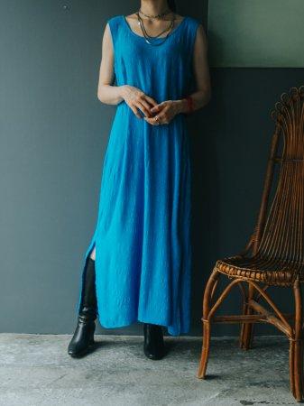 Turquoise Blue Wrinkle Pattern Dress