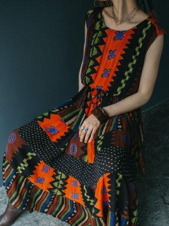 Oriental Pattern Mix Dress
