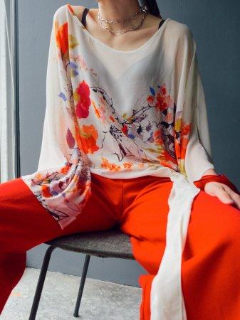 Flower Design Open Sleeve Sheer Tops