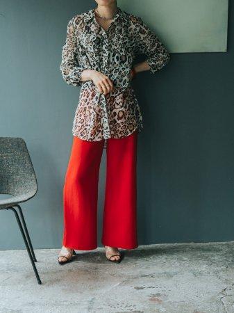 Leopard Design Sheer Shirt