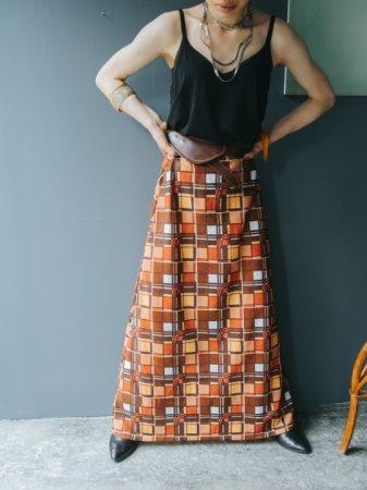 70s Square Motif Jersey Skirt