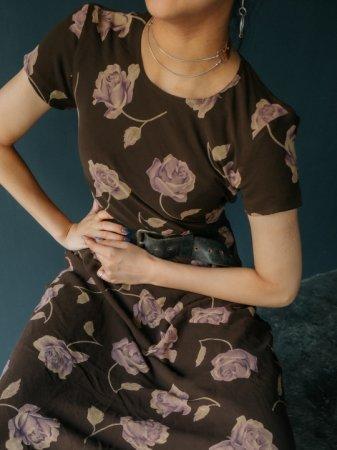 Rose Printed Sheer Dress