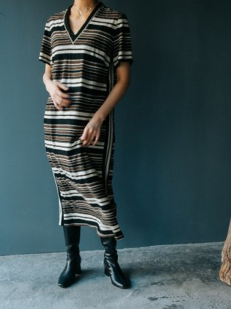 60s Stripe Design V-neck Dress