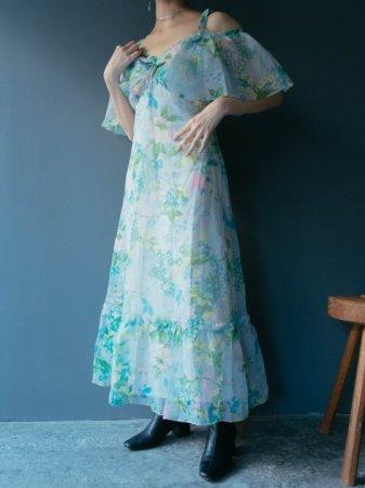 70s Flower Pattern Drop Shoulder Dress.