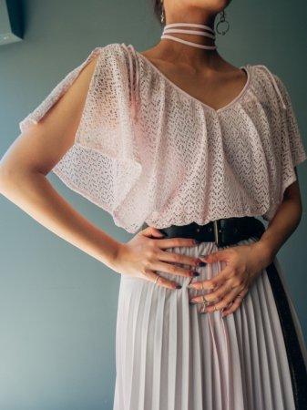 70s Pale Pink Lace Shoulder Design Dress