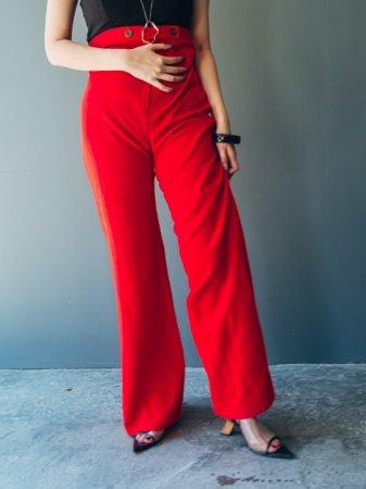 70s Waist Button Jersey Flare Pants .