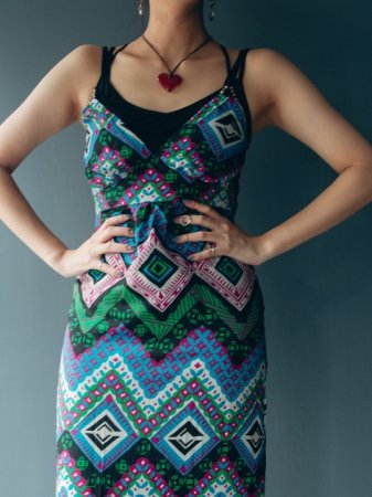 Ethnic Pattern Camisole Dress