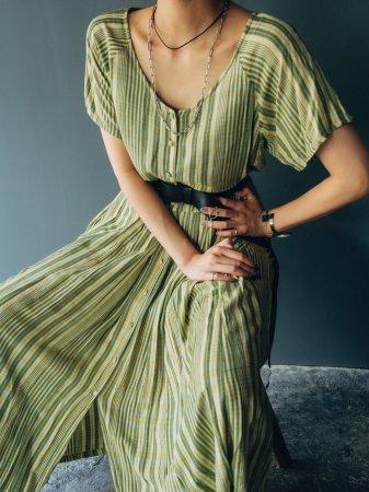 Green Check Raglan Half Sleeves Dress