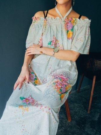 Pile Fabric Gathering Neck Dress