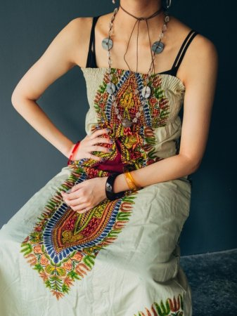 Ethnic Pattern Tube Top Long Dress.