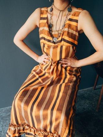 70s Orange-brown Stripe Dress