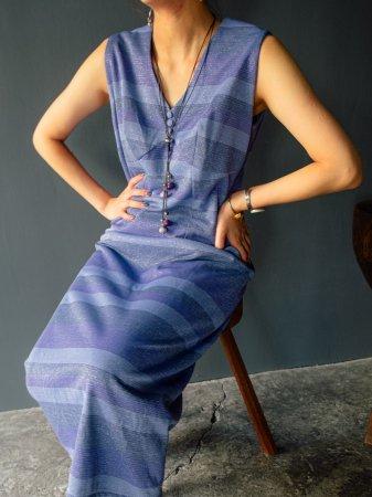 70s Lame Border Sleeveless Dress